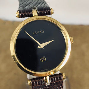 Vintage Gucci Gold with Black Enamel Stack Watch
